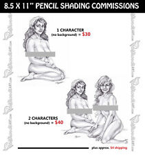 "PENCIL SHADED COMMISSION 8.5x11"" Original customized pinup art drawing sketch"
