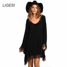 Womens Boho Tassel Dress  Lace Crochet Chiffon Tunic Hollow Black