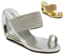 Womens Bridal Prom Wedding Shoes High Wedge Evening Ladies Sandals Size 3 - 8
