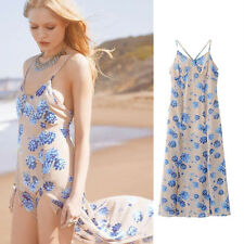 Sleeveless Backless Print Blue Floral Halter Dress Front Split Leg out Maxi Sexy