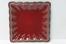 ROSCHER HOBNAIL RED SQUARE SALAD PLATES - S/4
