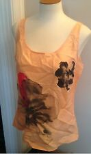 NWT $39 New York & Company Coral  Floral 100% Silk Career Tank Top L Large