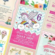 10 x Personalised Girls Kids Birthday Party Invites Invitations - 8 Designs