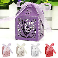 10/50/100Pcs Set Love Heart Favor Candy Boxes Wedding Party Gift Box With Ribbon