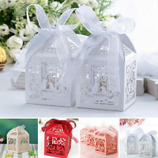 10/50/100Pcs Love Bird Heart Favor Gift Box Candy Wedding Party Boxes w/ Ribbon