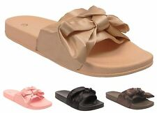 New Womens Slip on Comfortable Flat Rubber Casual Satin Bow Slippers Shoes