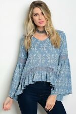 Women Boho Peasant Top Blouse Shirt Floral Bell Sleeve Crochet Casual Relaxed