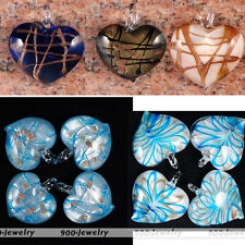 Foil Lampwork Glass Striped Heart Bead Flower Pendant For DIY Necklace Gift