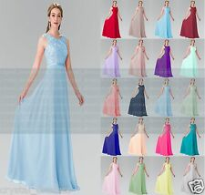 Formal Long Chiffon Lace Evening Party Ball Gown Prom Bridesmaid Dress Size 6~24