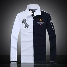 Autumn And Winter Air Force One men's long-sleeved polo shirt embroidered