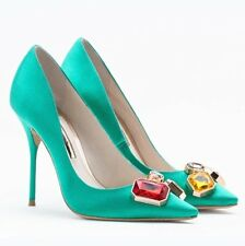 Fashion Green Shoes Woman High Heels Rhinestone Wedding Shoes Pumps Sexy Pointed
