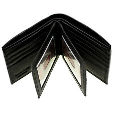 Mens Bifold Wallet Double Center Flap Genuine Leather Large Extra Storage New