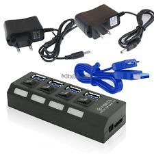 USB 3.0 Hub 4 Ports Speed 5Gbps For PC Laptop With On/Off Switch US Plug C5
