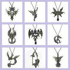Briar Angels Faerie Fairy Fantasy Theme Pewter Gold Tone Charm Pendant Necklace