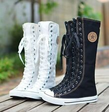 hot sale fashion women Canvas Boots Knee High Shoes lady motorcycle boots,size
