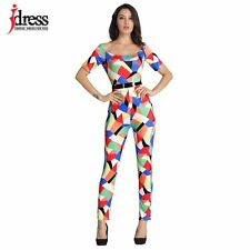 IDress S-XL Women Clothing Contrast Color Bodycon Jumpsuit Sexy Party Off