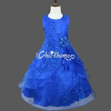 Embroidered Flower Girls Dress Kids Wedding Pageant Party Bridesmaid Prom Dress