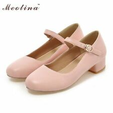 Women Shoes Pumps Spring Round Toe Mary Jane Casual Square Low Heels Ladies
