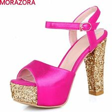 large size 2016 sexy high heels women sandals thick heels peep toe soft leather
