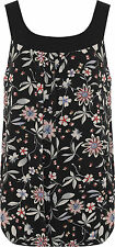 Plus Womens Chiffon Bubble Hem Vest Top Ladies Lined Sleeveless Floral Print New