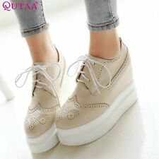 QUTAA Pink Summer Woman Shoes Wedge High Heel Platform Cut Outs Women Pump Lace