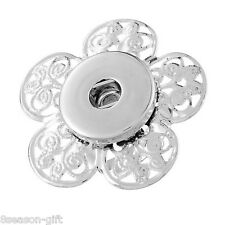 Wholesale Lots  Hollow Flower Adjustable Ring Fit Snap Buttons Size 8 18.1mm