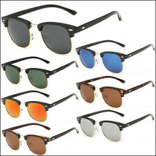 Half Frame Semi-Rimless Polarized Sunglasses Mens Womens Retro Vintage Eyewear