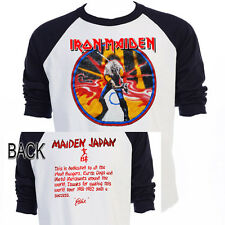 "IRON MAIDEN,""Maiden Japan 81-82"" Tour Baseball Shirt,All Sizes,T-522Blk,L@@K!"