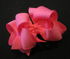 Pink Double Layered Hair Bow Spikes Baby Girls Toddler