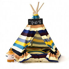 NEW Canvas Pet Indoor Stripy Play House Pad Cat Dog Bed Puppy Kitten Kennel Tent