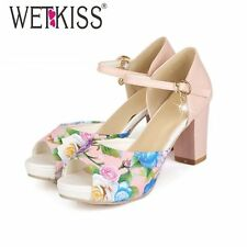 WETKISS Fashion Thick Heels Ankle Strap Mary Jane Sandals Flower Print Color