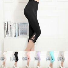 Women's Summer Slim fit Leggings Sexy Lace Skinny Stretch Trousers Casual Pants