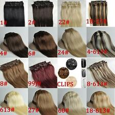 Straight 16inch 40cm Clips In 100% Real Remy Human Hair Extensions 70g 100g 120g