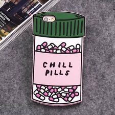 3D Chill Pills Silicone Rubber Soft Back Case Cover For iPhone/Samsung/Huawei/LG