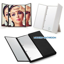 LED Tri-fold Lighted Make Up Travel Mirror Cosmetic Vanity With Adjustable Stand