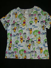 "DISNEY WINNIE THE POOH NWTS  SCRUB TOP  ""UP,UP & AWAY"""
