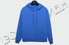 BALENCIAGA 495$ Authentic New Blue Cotton Logo Embroidery Hooded Sweatshirt