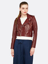 New Oxford LIZZY CROP LEATHER JACKET in BURGUNDY