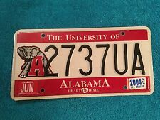 Alabama JUN 2004 University of Alabama License Plate TAG AL LICENCE HEART DIXIE