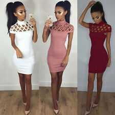 Women's Hollow Out High Neck Skin-tight Hip Hugging Bodycon Pencil Solid Dress