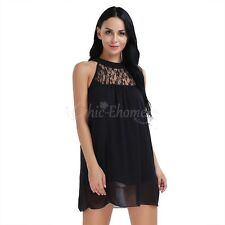 Women's Sleeveless Lace Casual Chiffon Cocktail Party Evening Short Mini Dress