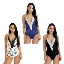 Women Lace One-Piece Swimsuit push up Padded Monokini Bikini Swimwear Beachwear