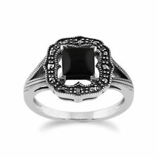 Gemondo 925 Sterling Silver 0.58ct Black Onyx & Marcasite Art Deco Ring