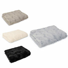 Faux Fur Fluffly Throw Over - Modern Super Soft Snuggle Bed Blanket Sofa Throw