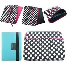 """Universal 9.7"""" Polka Dot Soft Sleeve & Leather Bookstyle Stand Case for 7"""" to 8"""""""