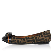 FENDI New Woman Brown Logo Printed Leather Fabric flat ballet Shoes Made  Italy