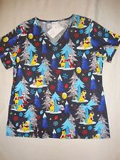 DISNEY WINNIE THE POOH , EEYORE & TIGGER  NWTS  SCRUB TOP  WINTER WONDERS