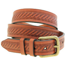 Mens 1 3/8 Chestnut English Bridle Leather Embossed Belt Antique Brass Buckle