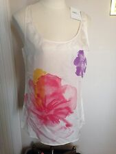 NWT $39 New York & Company Ivory Floral 100% Silk Career Tank Top XS XSmall