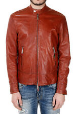 DSQUARED D2 New Men Brown Leather Jacker Zipped with Buckles NWT